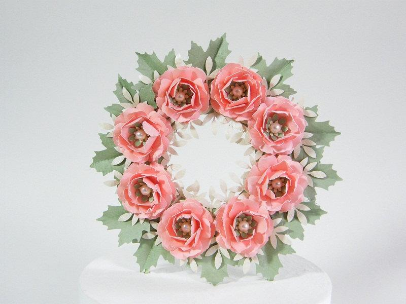 Свадьба - Paper Rose and Leaf  Wreath Wedding Cake Topper