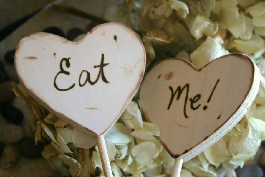 Mariage - Wedding Cake Toppers Eat Me for Rustic Chic Wedding Outdoor Fairy Tale Cottage Style
