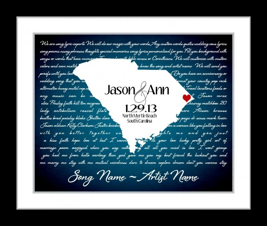 Wedding - Custom Wedding Gift First Dance Lyrics: Anniversary Gift Ideas Love State Map ANY Song i wanna love you Lyric Gift Wall Art Print