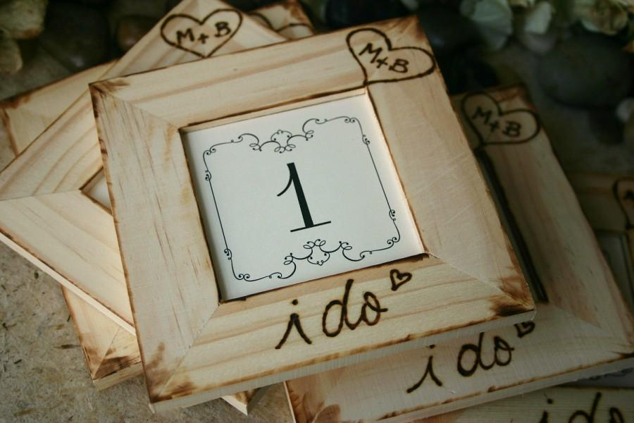 Rustic Wedding Personalized Table Number Frames Distressed Country ...