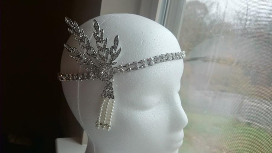 Wedding - Great Gatsby HeadPiece, Flapper headband, Roaring 20's wedding hairpiece, Great gatsby hair accessories, Gatsby Headband, Daisy, 1920's