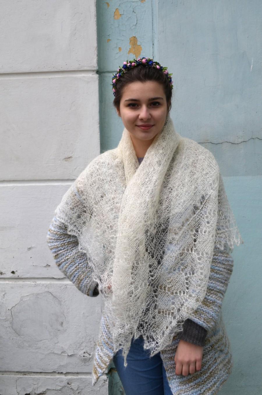 Wedding - Downy Lace Shawls, Orenburg Goat Handknitted, Wedding shawl, Lace Square shawl, bridal handknit wrap, rustic wedding, Ukrainian shawl