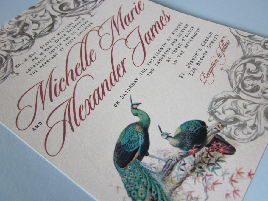 Peacock Wedding Invitation Vintage Wedding Invitation Sample