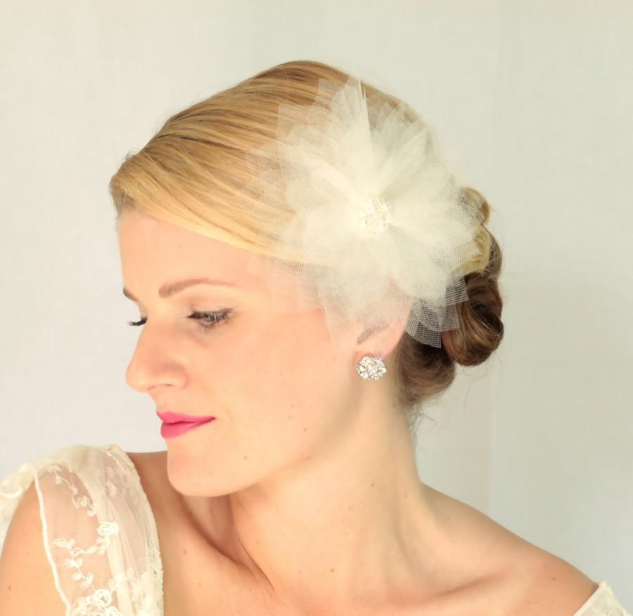 Mariage - Bridal tulle hair flower , bridal hair accessories, wedding accessories, bridal hair