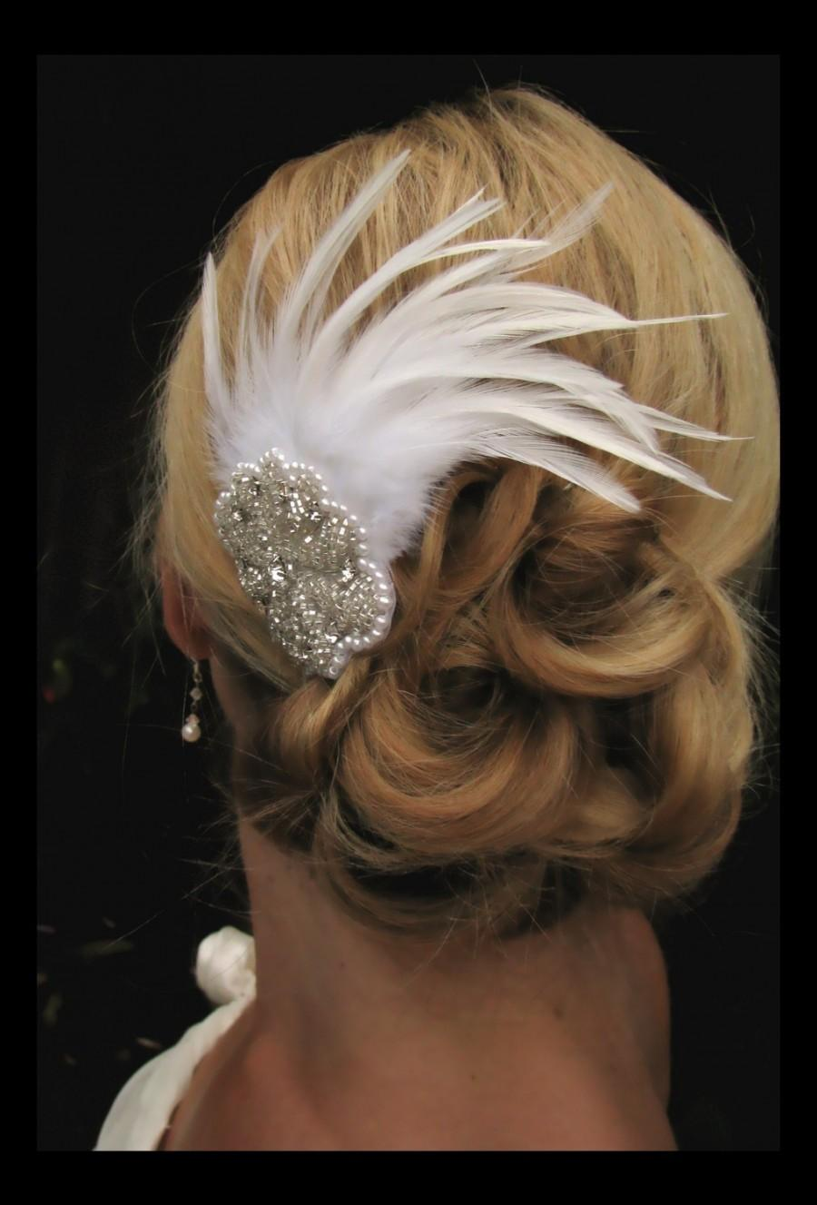 Mariage - Haley - Stunning Feather  Fascinator with Rhinestone Accent Piece, bridal hair accessories, feather hair accessories