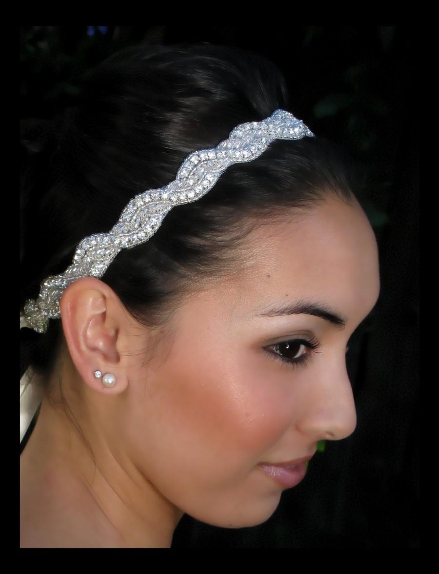 Mariage - Della rhinestone headband, Rhinestone beaded bridal headband, bridal headband, crystal headband