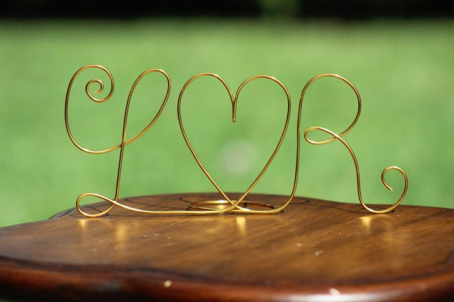 Свадьба - Any COLOR Wire Initials Cake Topper - Decoration - Beach wedding - Bridal Shower - Bride and Groom - Rustic Country Chic Wedding