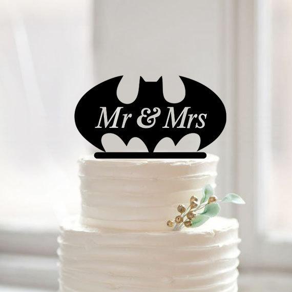 Свадьба - Mr&mrs batman cake topper,custom batman cake topper, funny cake topper for wedding,unique batman cake topper for Wedding Decor 29047