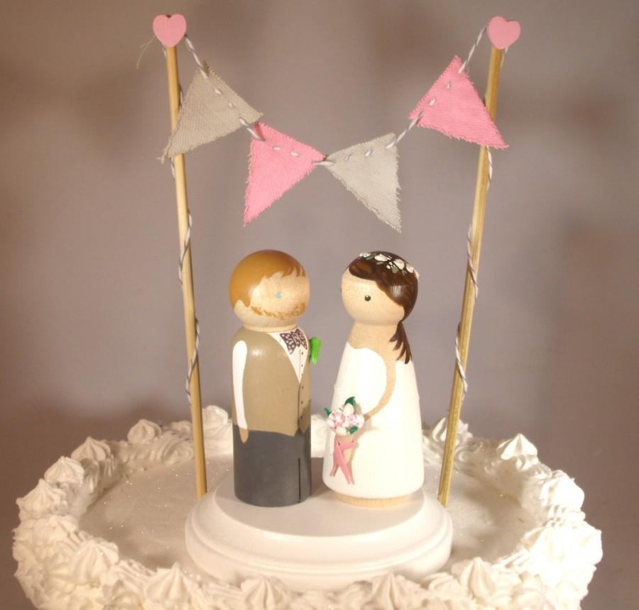 Wedding - Triangle Bunting with Custom Large Size Cake Topper Includes Bunting, Base, and 3D Bride and Groom