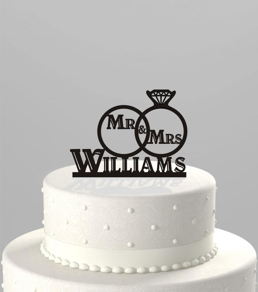Wedding Cake Topper Of A Ring Set With Mr Mrs And Personalized Your Name Acrylic CT72a