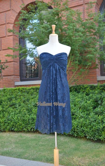 Mariage - Navy Blue Lace Bridesmaid Dress Sweetheart Strapless Knee Length Short Prom Dress