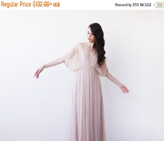 Mariage - Blush pink maxi sheer lace dress, Lace gown with bat wings sleeves