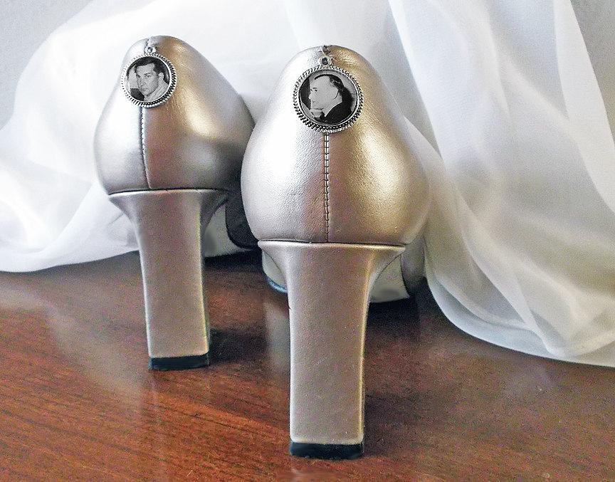 Свадьба - Wedding Shoe Memorial Photo Charms - CUSTOM 2 little Silver or Bronze Bridal Memory Keepsake