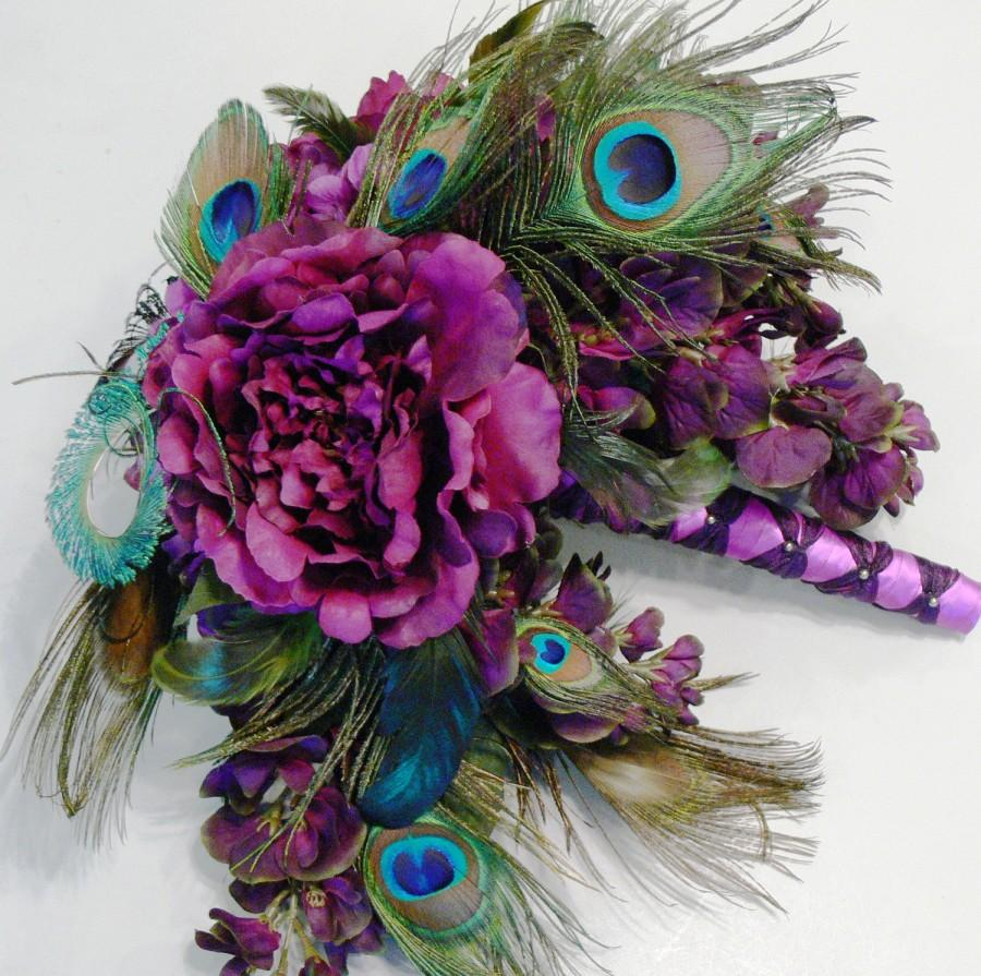 Wedding - Plumluscious Peacock Bridal Wedding Bouquet in plum purple burgundy and green hues
