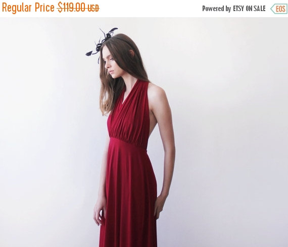 Mariage - Bordeaux halter-neck maxi gown, Backless maxi red dress, Bridesmaids wine red maxi dress