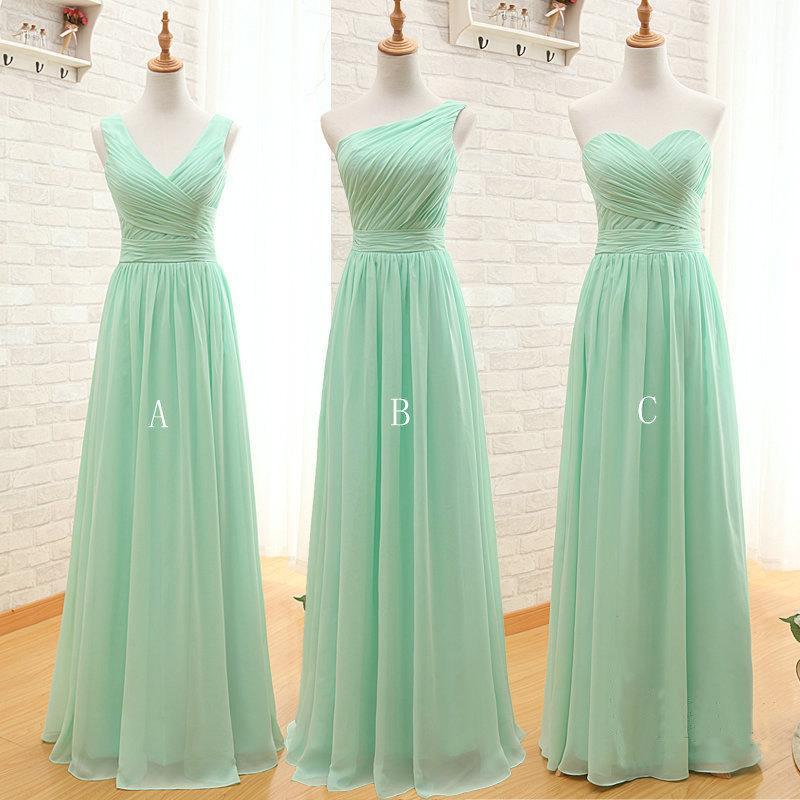 Mariage - Custom Made Long Chiffon Bridesmaid Dress, Mint Green or Custom Color