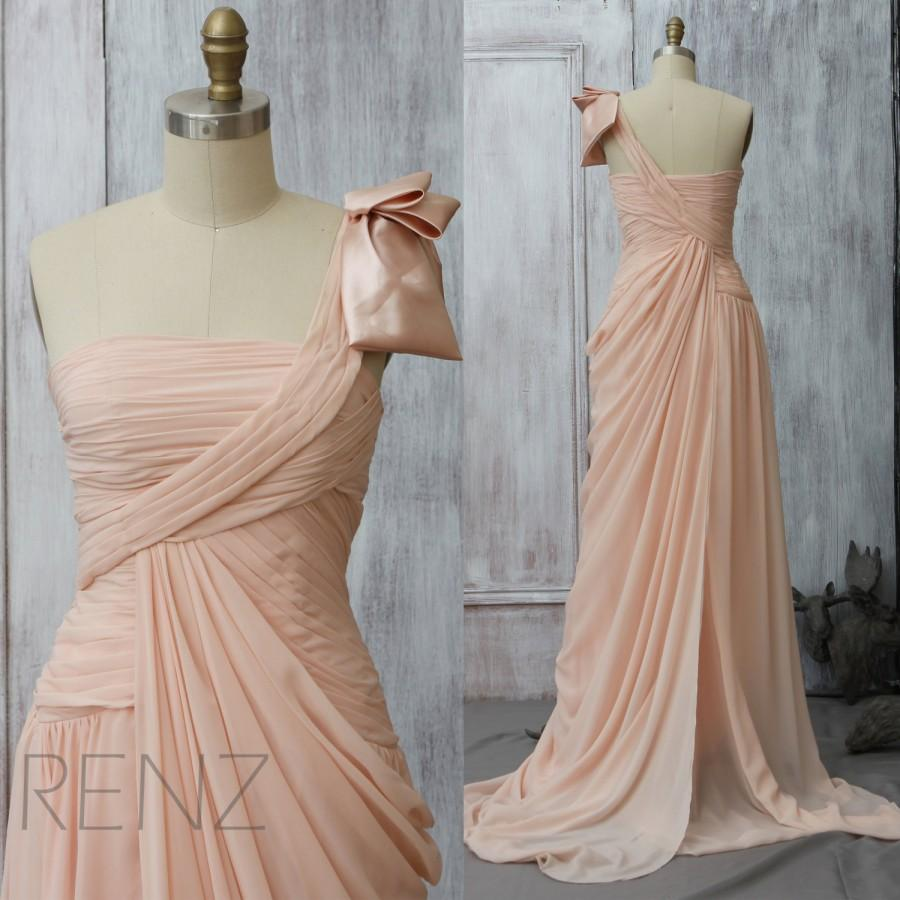 Wedding - 2015 Blush One Shoulder Bridesmaid Dress, Peach Wedding Dress, Prom Cocktail Dress,  Formal dress,Maxi Dress Floor Length with a Train(F077)