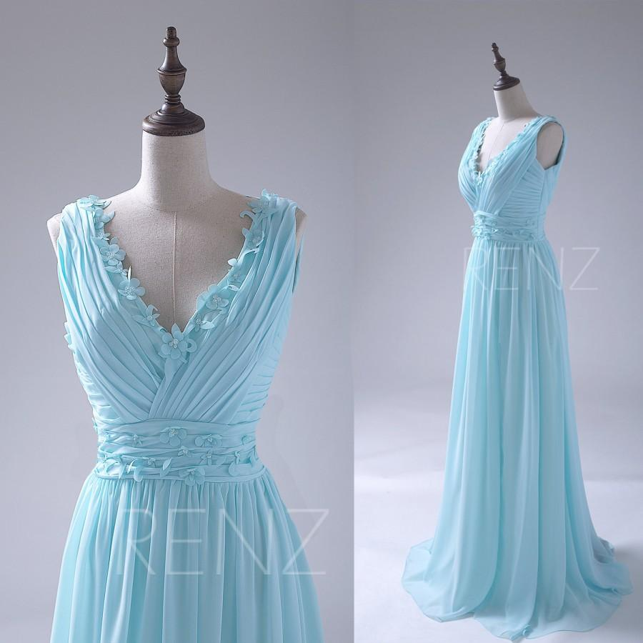 2015 Sky Blue Bridesmaid Dress, Flower Deep V Neck Wedding Dress ...