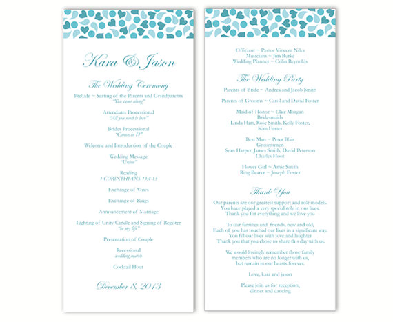 Свадьба - Wedding Program Template DIY Editable Word File Instant Download Program Blue Wedding Program Heart Program Printable Wedding Program 4x9.25