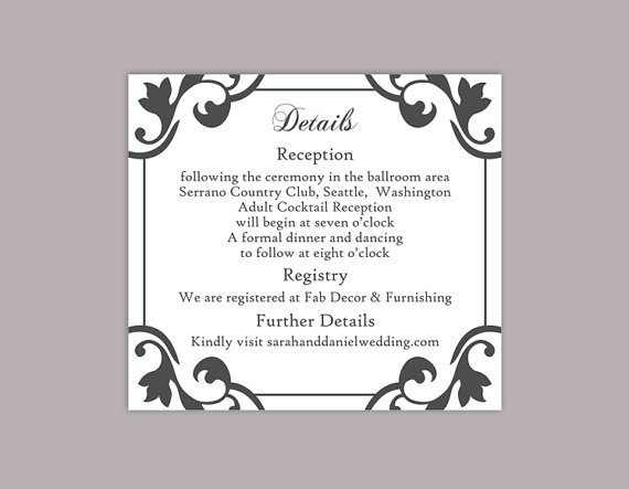 Свадьба - DIY Wedding Details Card Template Editable Word File Instant Download Printable Details Card Black Details Card Elegant Enclosure Cards