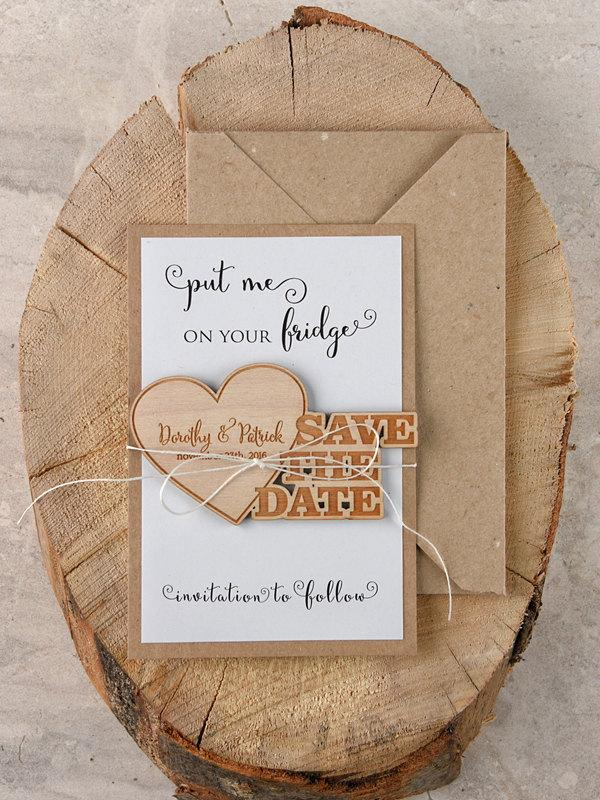 Save The Date Magnets (20), Rustic Wood Save The Date, Engaved ...