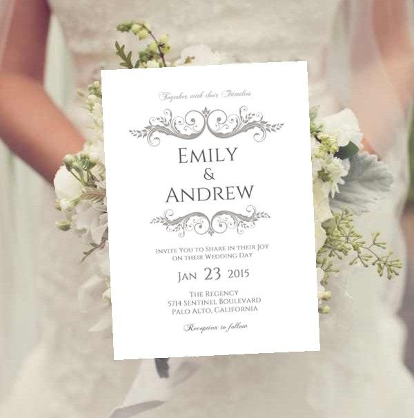 Свадьба - Wedding Invitation Template Charcoal Gray INSTANT Download Sarah Frame diy Editable - Fonts Included