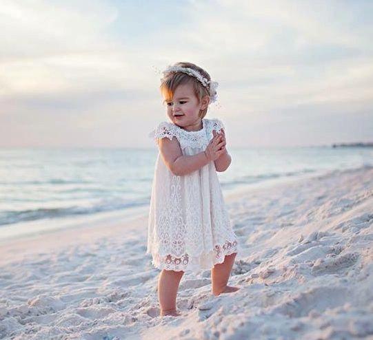 Mariage - Off white Lace Flower Girl Dress,White Flower Girl Dress,White Lace Dress,Crochet lace dress,Girls Vintage Dress,Rustic Dress,Baptism Dress
