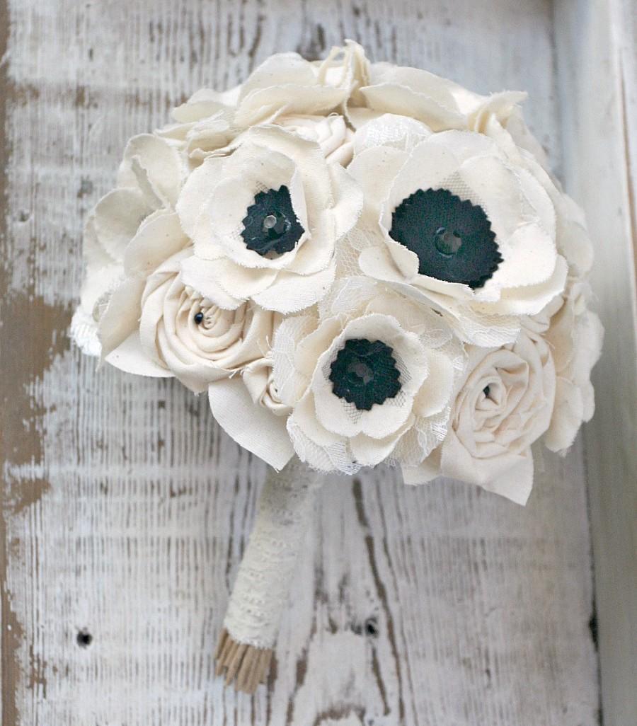 Signature anemone brides bouquet romantic ivory fabric flower signature anemone brides bouquet romantic ivory fabric flower heirloom brides bouquet anemone flowers ivory black wedding sunnybee izmirmasajfo