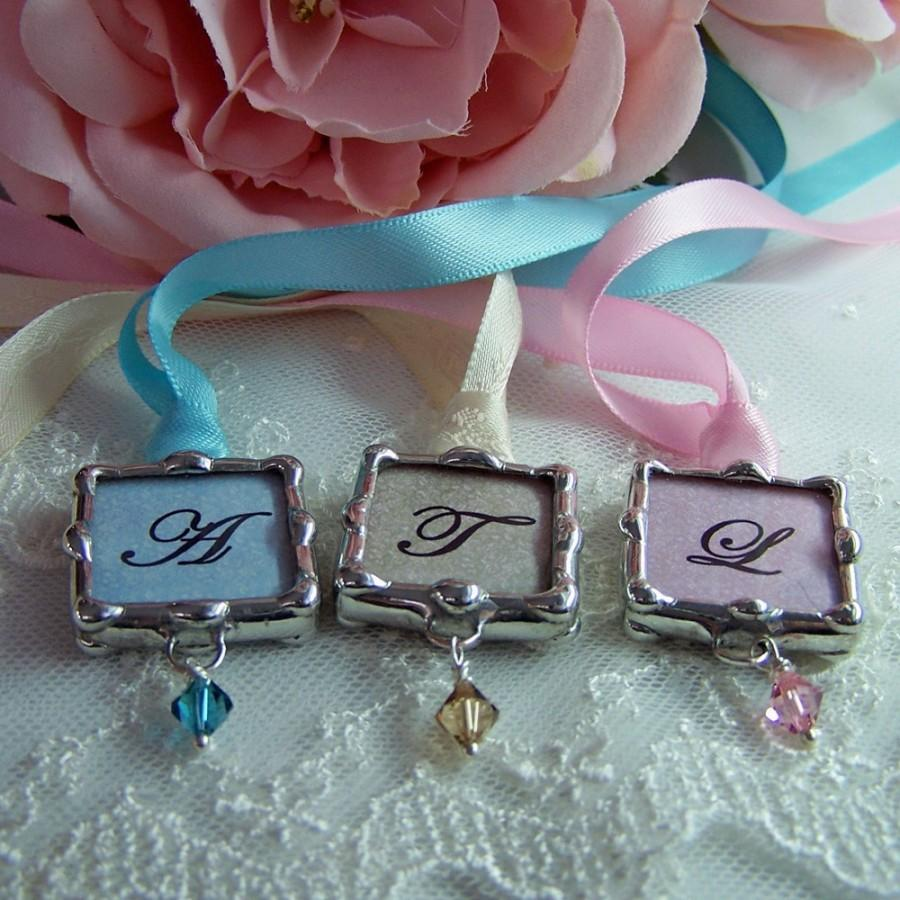 Свадьба - Bridal Party Bouquet Charm Personalized Wedding Charm