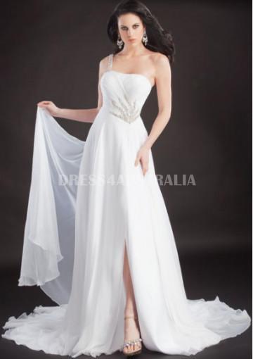 Hochzeit - Buy Australia A-line One-shoulder Sequins Long White Chiffon Formal Dress/ Prom Dresses at AU$153.72 - Dress4Australia.com.au