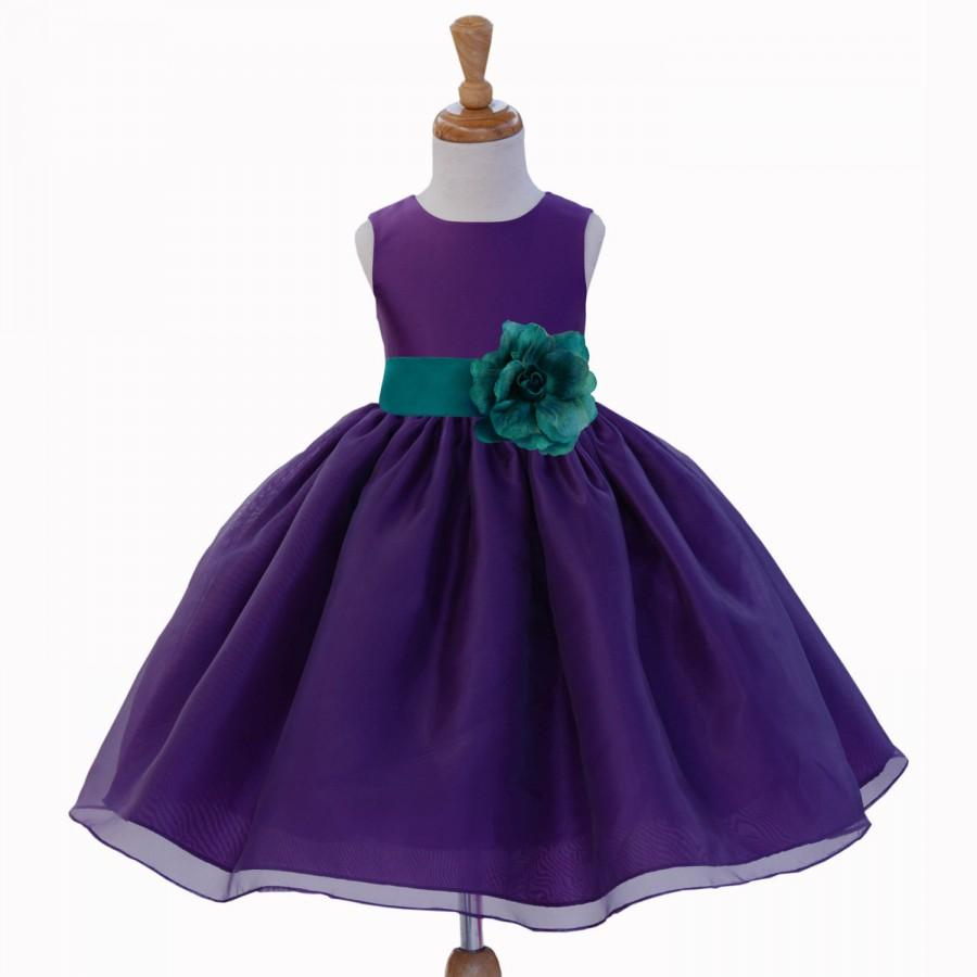 a1429622f46 Purple Organza Flower Girl dress tie sash pageant wedding bridal recital  children bridesmaid toddler elegant sizes 12-18m 2 4 6 8 10