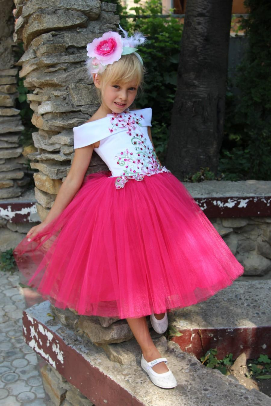 Wedding - Pink Flower Girl Dress - Birthday Wedding Party Holiday Peasant Bridesmaid Tulle Deep Pink Dress