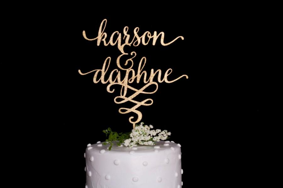 Custom Calligraphy Name Amp Name Wedding Cake Topper Gold 2435359
