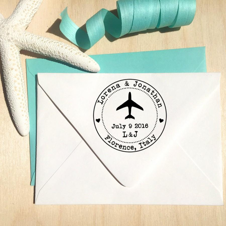 Airplane Stamp With Hearts, Initials And Date For Save The Dates ...
