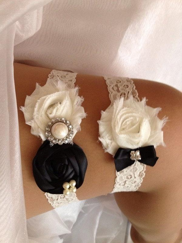 Black Wedding Garter Set And Ivory Rhinestone Detail