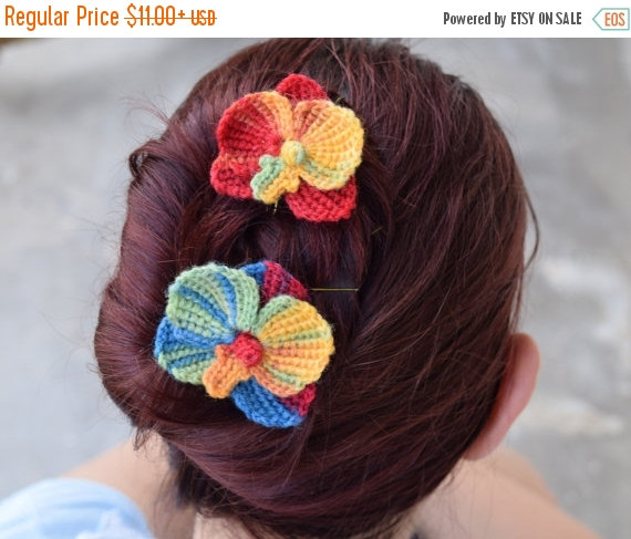 Mariage - SALE 15% Bridal hairpins, rainbow colored orchid flowers, crocheted colorful flowers, choose quantity