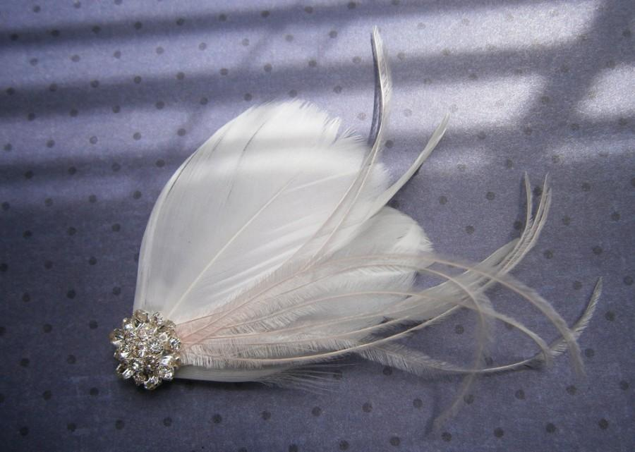 Hochzeit - wedding, Feather, accessories, white, Fascinators, Feathered, hair, clip, Accessory, Piece, Brides, pink, small - WOODLAND FAIRY