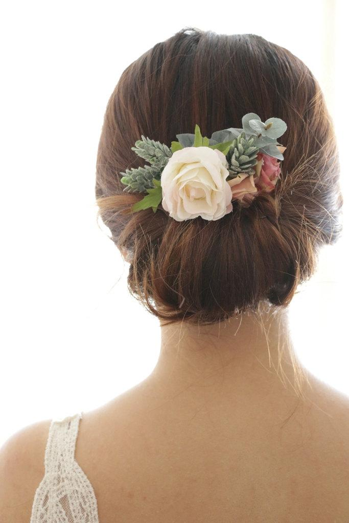 Wedding - Bridal Hair Accessory, vintage ivory purple rose winter pine, Bridal Hair comb hairpiece flower, Bridesmaid Rustic outdoor wedding woodland