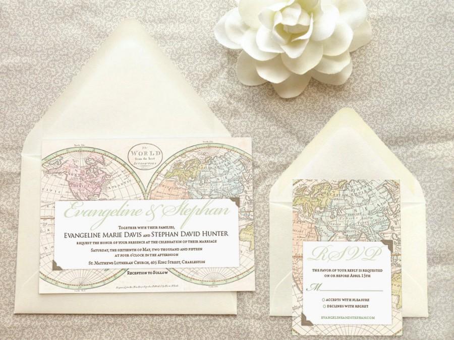 Old World Map Travel Wedding Invitations Destination Wedding – World Traveler Map Set
