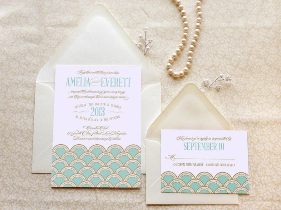 زفاف - Mint and Gold Scallops Gatsby Wedding Invitations - Art Deco Wedding - 1920s Wedding - Jazz Age Wedding