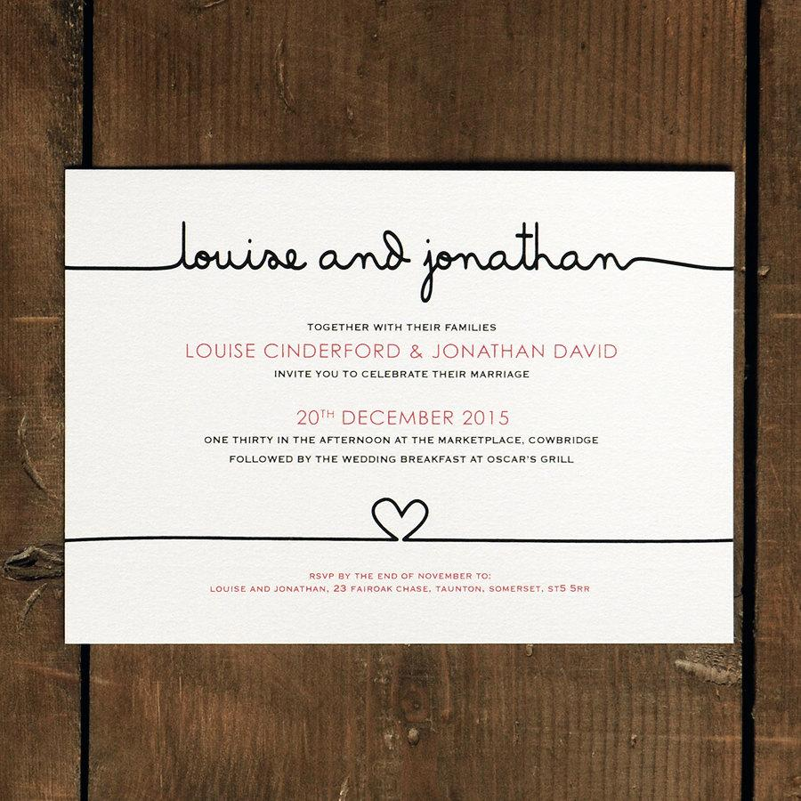 Scribble Handwriting Wedding Invitation Set On Luxury Card Modern