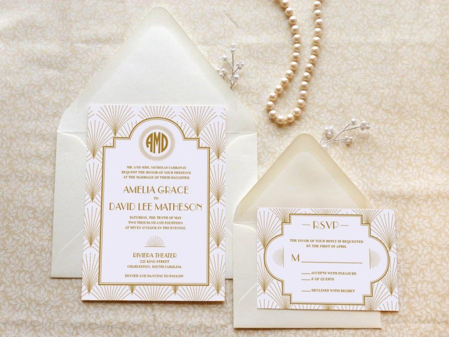 The Charleston Gatsby Wedding Invitations - 1920s Wedding - Art ...