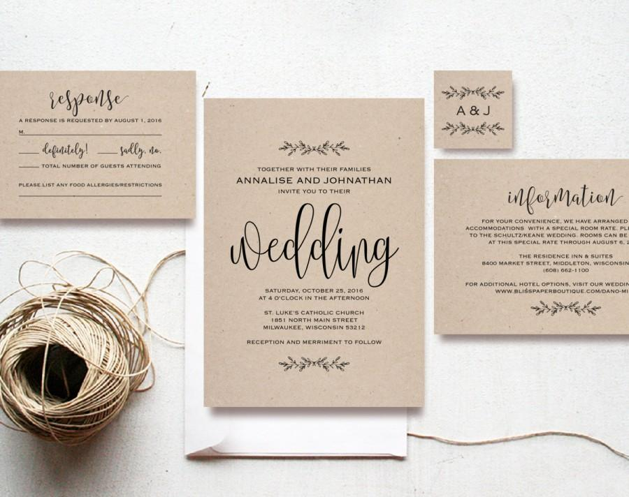 Kraft Wedding Invitation Printable Rustic Set Diy Pdf Instant Bliss Paper Boutique