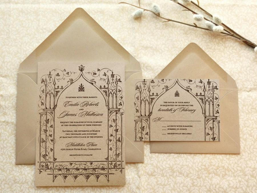 Once Upon A Time Kraft Garden Wedding Invitations   Fantasy Wedding    Castle Wedding   Fairytale Wedding   Nature Wedding