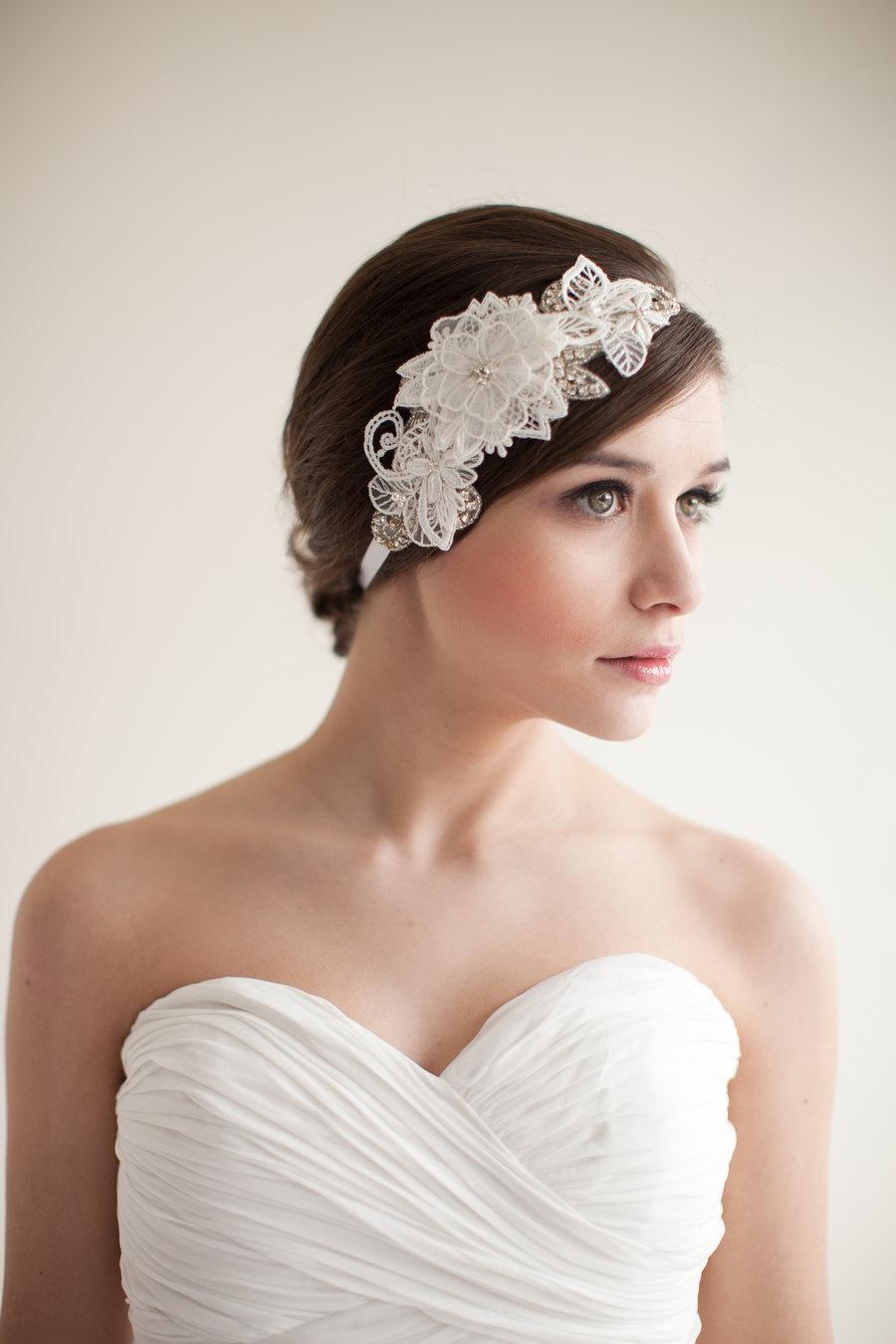 Mariage - Lace Headband, Bridal Headpiece, Fascinator, Rhinestone Pearls, Flowers, Leaves - Mia Style 4113