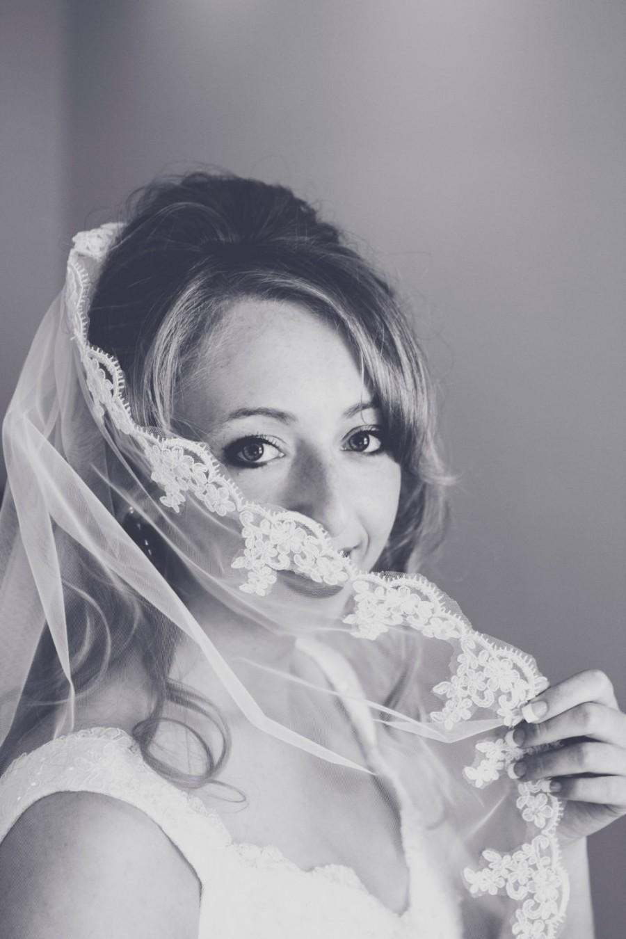 زفاف - Fingertip Tulle Bridal Wedding Veil White or Ivory