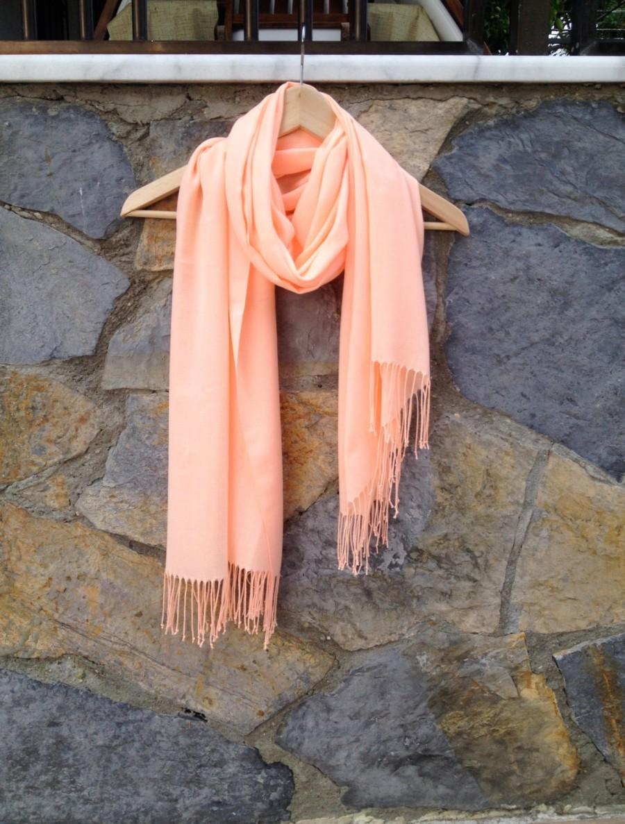 Wedding - Melon Color Shawl, Light Coral Scarf, Peach Wrap, Wedding Shawl, Translucent Scarf, Bridal Shawl, Bridesmaid Gift, Lightweight Fine Pashmina