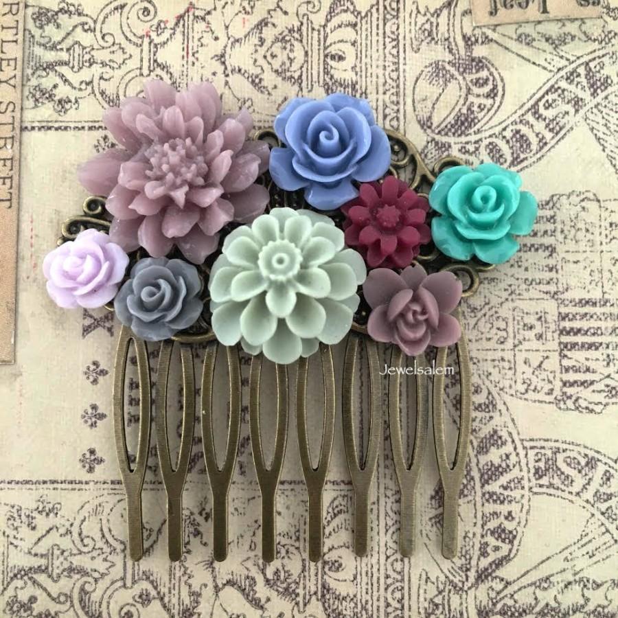 زفاف - Wedding Hair Comb Floral Bridal Headpiece Seafoam Sage Green Lilac Purple Cornflower Blue Dark Gray Maroon Wine Red Autumn Romantic Woodland
