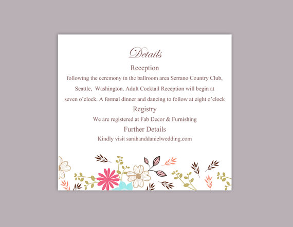Diy Wedding Details Card Template Editable Word File Instant Printable Colorful Fl Information Cards
