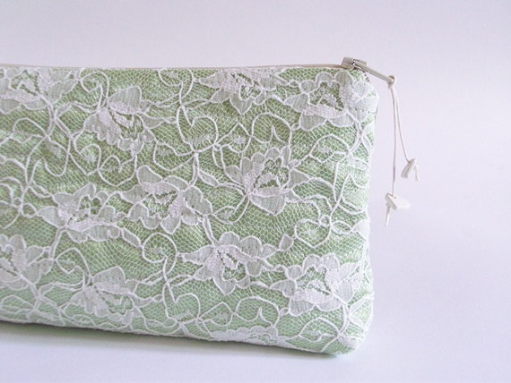 Hochzeit - Mint Green Lace Clutch, Wedding Clutch, Lace Wallet, Satin Lace Handbag